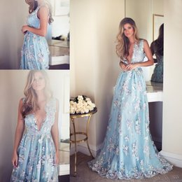Wholesale Navy Blue Romantic Evening Dress - 2017 Romantic A Line Prom Dresses Sexy Plunging Handmade Flowers Lace Applique Backless Formal Long Evening Party Celebrity Gowns