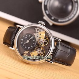 Wholesale Double Dial Watches - Super Clone Luxury Brand Classic Classique Tradition 7057 Black Dial Double tourbillon Automatic Mens Watch Leather Strap New Cheap Watches