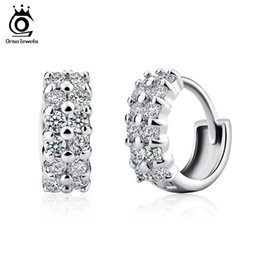 Wholesale Orsa Jewelry Cute Small Circle Stud Earrings with Shiny Austrian CZ Zircon Silver Color Fashion Jewelry for Women OE01