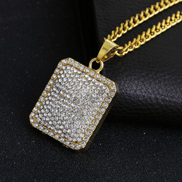 Wholesale Poker Gold - Retail Full of Crystal Square Poker Pendant & Necklace gold Chain For Men or Women Jewelry Gift NE687