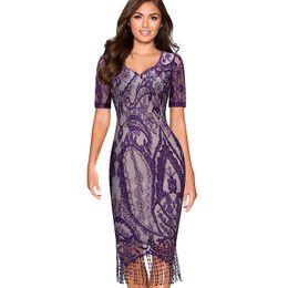 Wholesale Short Dress Fringes - Women Summer Vintage Elagant Ladylike Fringe Tassel Hemline Graphic Flower Lace Pattern Short Sleeve Sheath Bodycon Dress