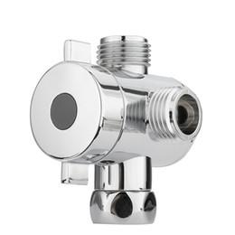 Wholesale Bathroom Shower Diverter - Wholesale- Shower Head Shunt G1 2 Inch Bathroom Three Way T Adapter Tee Connector Valve For Toilet Bidet Shower Head Diverter Valve