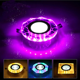 Wholesale Ceiling Lights Cube - Wholesale- Water Cube led ceiling light lampen crystal 3w led spot double color background wall decorative lamp led lights for home
