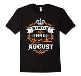 Wholesale Black Gildan Shirt - Hip-Hop Simple Splicing Tee Tops Shirt Gildan Short Sleeve Men Gift Kings Are Born In August O-Neck Shirts