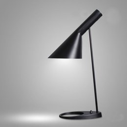 Wholesale Modern Black Table - Replica Louis Poulsen Arne Jacobsen table lamp 5 colors for option Europe AJ Desk Lamp Cafe Aisle Hall LED bulb E27 read Lamps