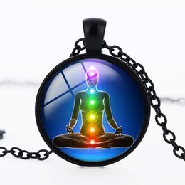 Wholesale Indian Charm Necklace - Reiki chakra pendant OM Glass long necklace chakra healing mandala necklace yoga indian jewelry christmas gift for women