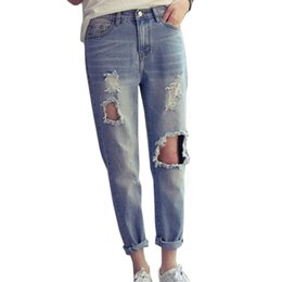 Wholesale High Waist Distressed Jeans - Wholesale- Destroyed Ripped Jeans For Women New Spring 2017 Fashion High Waist Distressed Boyfriend Jeans Trousers For Women Jeans Femme