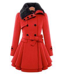 Wholesale Ladies Wool Red Coats - New Autumn Winter Women Rabbit Fur Collar Long Coat Jacket Female Blends Woolen Warm Overcoat plus size ladies Slim Fit black Clothing 4XL 5