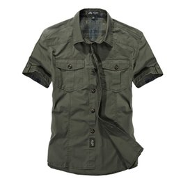 Wholesale Military Shirts Army Green - Mens shirts 100% cotton double color Button Shirts Slim Was Thin short sleeve Shirts Men Classic Military Style Men Casual clothes outwear