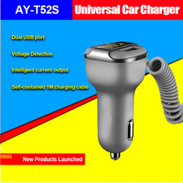 Wholesale Iphone Detection - T52S 3.4A dual USB car charger with 1M cable for iphone, samsung, Nokia smart phone and other digital device voltage detection