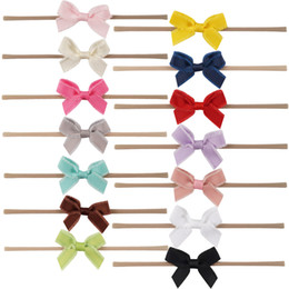 Wholesale Cute Headbands For Babies - Baby Hairbands With Mini Cute Hair Bow For Girl Soft Neon Baby Headband Newborn MINI Headband