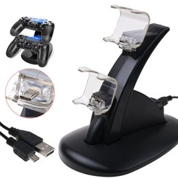 controlador de carga dual usb Rebajas Para Xbox One Playstation LED Cargador USB Dual Dock Mount Charging Stand titular para PS4 XBOX ONE Gamepad Game Controllers con Pack