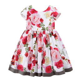 Wholesale Pink Plaid Lolita Dress - W.L.MONSOON Girls Floral Dress Summer 2017 Brand Reine Des Neiges Costume Princess Dress with Bow Kids Dresses for Girls Clothes