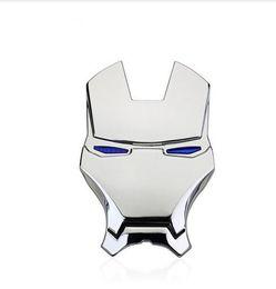 Cromo de hierro online-3D Chrome Metal Iron Man Car Emblem Stickers Logo Decoración The Avengers Car Styling Calcomanías Exterior Accessories Silver Gold