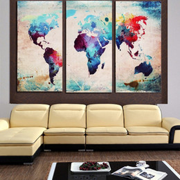 Wholesale World Oil Canvas Panel - 3pcs set Unframed World Map Oil Painting On Canvas Giclee Wall Art Paintings Abstract Map Picture For Living Room Home Decor