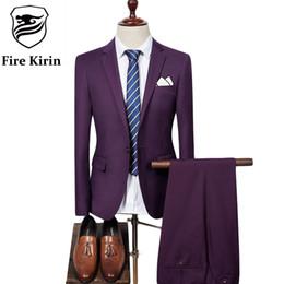 Toptan-Yangın Kirin Erkek Takım Elbise 2017 Slim Fit Erkekler Düğün Ceket Pantolon Resmi Giyim Lüks Mor Erkekler Mavi Siyah Gri Kırmızı Q320 Suits nereden