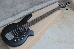Wholesale bass bodies - Matte Black 9V Battery Active Pickups Music Man Bongo 5 Strings Electric Bass Guitar Musicman Free Shipping