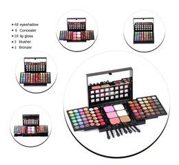 Wholesale Pro 78 Full Color Eyeshadow - Wholesale-New Professional Makeup Set Pro 78 Full Color Eyeshadow Lip Gloss Blusher Palette Kit Eye Shadow Cosmetics