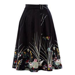 Wholesale Women Fashion Long Skirts - 2017 Midi Long Skirt Women Ladies Summer High Waist Swan Floral Print Skirts Womens Saia Longa Jupe Femme faldas Woman Clothes