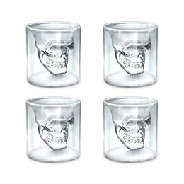Wholesale Movie Cups - Fred DOOMED Crystal Skull Shot glass Double Layer Transparent Skull Pirate Shotglasses Drink Cocktail Beer Cup,Wine Cup,Drinking Ware Mugs