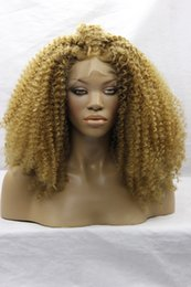 Wholesale Burgundy Afro - Hot Glueless Heat Resistant Natural Black Dark Brown Blonde Afro Kinky Curly Synthetic Lace Front Women Wigs