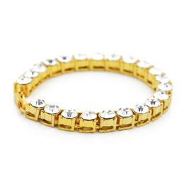 """Wholesale Bracelet Bling Men - Men Hip Hop Iced Out 8mm*8"""" 1 Row Rhinestones Bracelet Style Clear Simulated Diamond Bracelet Bling Bling"""