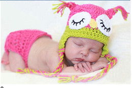 Wholesale Clothing Owl Designs - Owl Design Newborn Costume Photography Props Hand Made Crochet Baby Photo Shoot Clothes for 0-3 Months 1 Set