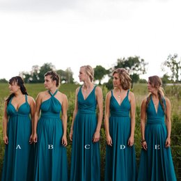 Wholesale Dress Jade Color - Jade Convertible Cheap Long Bridesmaid Dresses Chiffon A-Line Backless Floor Length Ruched Wedding Party Gowns Prom Gowns Vestido De Festa