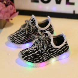 Wholesale 2017 Eur21 Children Shoes With Light Led Enfant Sneaker Girls Tenis Sports Breathable Boys Light Baby Shoes Kids