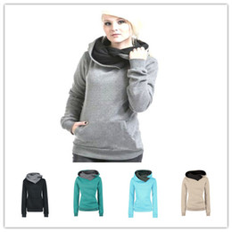Wholesale Womens Long Warm Sweaters - Hot Fashion Female Solid Color Fleece Hoodie Womens hooded Pullover Sweaters Girls fashion warm hooded Coat 5colors 6sizes