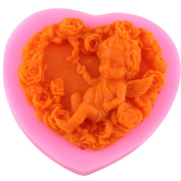 Fimo lehmformen online-Rose Engel Handwerk Kunst Silikon Soap Mold 3D Handwerk Formen DIY Fimo Harz Ton Kerze Formen Fondant handgemachte Seife Formen