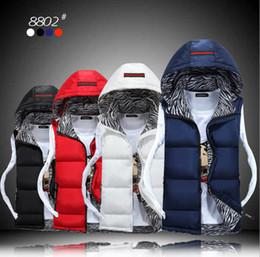 Wholesale Down Vest Coat Men - Large Size Men Winter Waistcoat Vest Hood Down Coat Slim Korean Jacket Male Down Vest Husband Gift Present 95% Cotton Padded