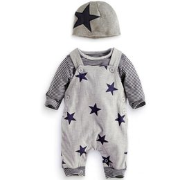 Wholesale Long Sleeve Boys Star Shirt - Baby romper outfits 2017 autumn toddler kids stripe long sleeve T-shirt+stars printed suspender jumpsuits+hat 3pc clothing sets T3731