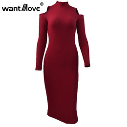 Wholesale Off Shoulder Turtleneck - Wholesale- 3 Color Long Sleeve Women Autumn Dress 2017 Sexy Skinny S-XL Plus Size Party Dresses Turtleneck Off Shoulder Bodycon Dress XD658