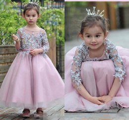 Wholesale Toddler Girls Long Pageant Dresses - Hot Sales Birthday Princess Dress For Little Girls Appliqued Sleeves Ankle Length Flower Girl Dresses Toddler Pageant Gown Custom Quality