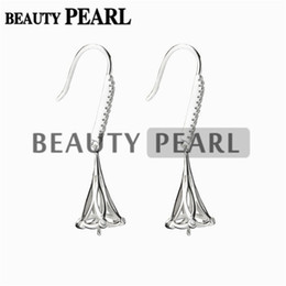 Wholesale Settings Cabochons - Bulk of 3 Pairs Earrings Setting for Round Pearls or Cabochons 925 Sterling Silver Zircon Earring Blanks