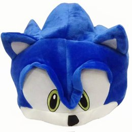 "Wholesale Parties For Teenagers - Hot New 21"" 54CM Sonic The Hedgehog Hat Fleece Plush Hat Cosplay Costumes Blue Cap Brinquedos Soft For Adults Teenagers Party Gifts"