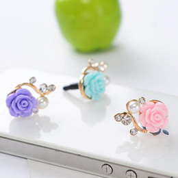 Wholesale Anti Dust Earphone Jack Plug - Resin Diamond Universal 3.5mm Anti Dust Plug Dust proof Earphone Jack for iPhone 5s 6 6S plus iPad s8 s7 s6 note5 HTC Xiaomi DHL free USZ043