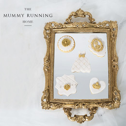 Wholesale Mirror Trays - Wholesale-Vintage decoration cake tray gold mirror glass cupcake plate perfume holder mirrored makeup tray wedding party home craft