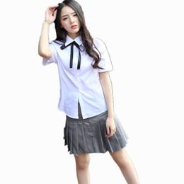 Wholesale High School Girl Mini Skirt - Japanese Girl School Uniforms Korean Student Female White Shirt + Gray Pleated Skirt Class Service Suits Costumes For Women