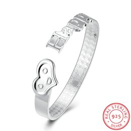 Wholesale Real Happy - 100% Real 925 Sterling Silver Jewelry Happy Heart Fancy Bangles for Women Girls Accessories Gifts Phiz Smiling Face Cuff High Quality Bijoux