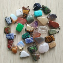 Wholesale Horn Shaped Pendants - ssorted natural stones Wholesale 50pcs lot 2017 hot selling trendy Assorted Natural stone Mixed Irregular shape pendants charms jewelry F...