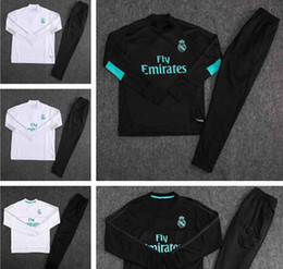 Wholesale Training Suits For Men - 2017 18 Real Madrid Football jacket tracksuit RONALDO de foot JAMES BALE RAMOS ISCO jacket Training suit Size S-XL For men