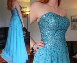 Wholesale Chiffon Empire Sweetheart Bling - Bling Bling Crystal A Line Long Prom Dresses 2017 Sweetheart Backless Chiffon Special Party Formal Evening Gown Vestido De Festa