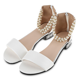 Wholesale Low Stylish Heels - Stylish Pure Color Pearl String Strap Lolita Ladies Flat Sandals Women Beach Sandals String Bead Pearl Ankle Strap Candy Flip Flops Shoes+B