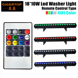 Wholesale Led Strips Dmx - TIPTOP 4XLOT 18x10W RGBW LED Light Under Cabinet 100cm Strip 4IN1 Wall Washer Accent Lighting Indoor DMX 8CH Wireless Control