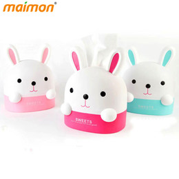 Wholesale Tissue Plastic Storage Containers - Wholesale- 2016 Lovely Bunny Roll Paper Holder Rabbit Storage Box Home Office Desktop Plastic Tissue Canister Container Paper Organizer