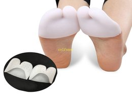 Wholesale Feet Protection Shoes - 100paris lot Silicone Toe Sleeve Foot Protection Ballet Shoe High Heels Toe Pads Gel Protective Care Tool with holes 2 styles