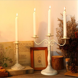 Wholesale Ancient Art - New Arrival Romantic Retro White Candlestick Candlelight Dinner Items Table Ancient Wedding Candle Holders Home Decor 3 Size