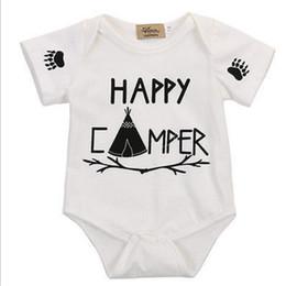 "Wholesale Girls Tutus T Shirt - ""Happy Camper"" Letter Print Newborn Baby Bodysuit White Sunsuit Baby Girl Clothes Cotton T-shirts For Boys Kawaii Baby Bodysuit"